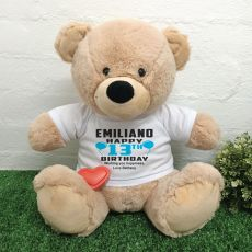 13th Birthday Bear with Voice Recorder 40cm Cream