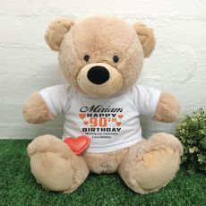 90th Birthday Bear with Voice Recorder 40cm Cream
