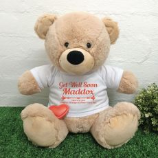 Voice Recordable Get Well Bear with T-Shirt - Cream 40cm