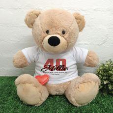 Recordable 40th Birthday Bear Cream 40cm
