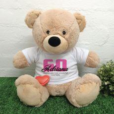 Recordable 60th Birthday Bear Cream 40cm