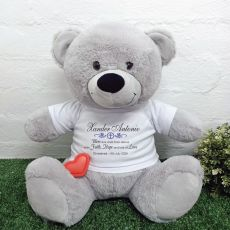 Voice Recordable Christening Bear with T-Shirt - Grey 40cm