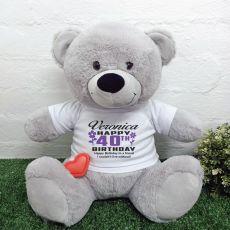 Recordable 40th Birthday Teddy Bear Grey 40cm