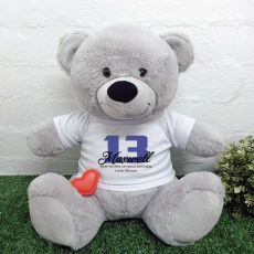 Recordable 13th Birthday Bear with T-Shirt - Grey 40cm