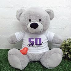 Recordable 50th Birthday Bear with T-Shirt - Grey 40cm