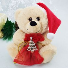 Christmas Bear with Gift Bag & Tree Brooch