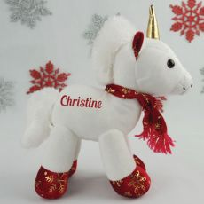 Personalised Christmas Unicorn Plush