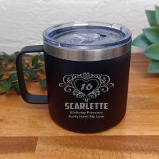 16th Birthday Black Travel Coffee Mug 14oz (F)