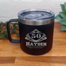 50th Birthday Black Travel Coffee Mug 14oz (M)