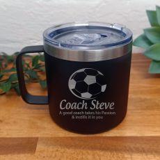 Soccer Travel Tumbler Coffee Mug 14oz Black