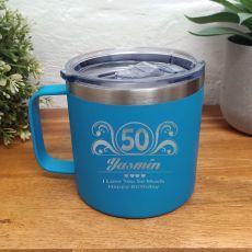 50th Birthday Blue Travel Coffee Mug 14oz (F)