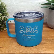 80th Birthday Blue Travel Coffee Mug 14oz (F)