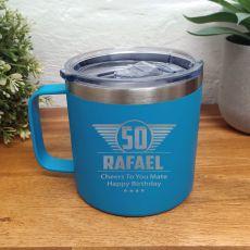 50th Birthday Blue Travel Coffee Mug 14oz (M)