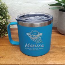 Basketball Coach Travel Tumbler Coffee Mug 14oz Blue