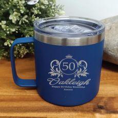50th Birthday Cobolt Travel Coffee Mug 14oz (F)
