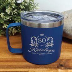 80th Birthday Cobolt Travel Coffee Mug 14oz (F)