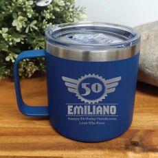 50th Birthday Cobalt Travel Coffee Mug 14oz (M)