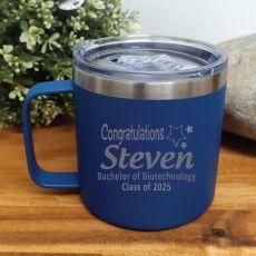 Graduation Travel Tumbler Coffee Mug 14oz Cobalt