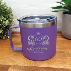 60th Birthday Purple Travel Coffee Mug 14oz (F)
