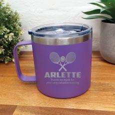Tennis Coach Travel Tumbler Coffee Mug 14oz Purple