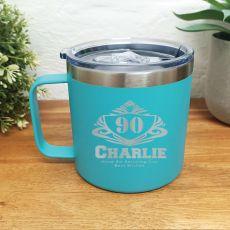 90th Birthday Teal Travel Coffee Mug 14oz (M)