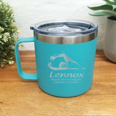 Swim Coach Travel Tumbler Coffee Mug 14oz Teal