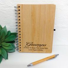 Grandpa Engraved Bamboo Journal with Pen