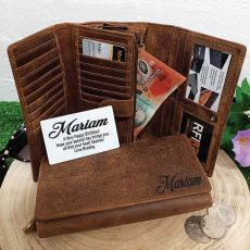 Personalised Brown Leather Purse RFID - Birthday