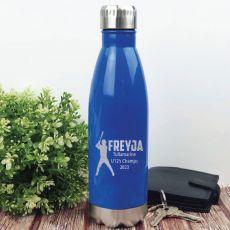Baseball Coach Engraved Stainless Steel Drink Bottle - Blue