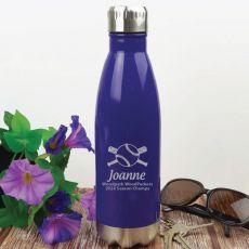 Baseball Coach Engraved Stainless Steel Drink Bottle - Purple