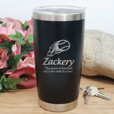 Baseball Coach Engraved Insulated Travel Mug 600ml Black