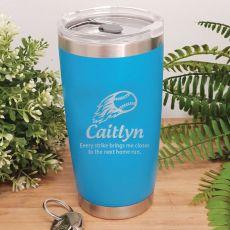 Baseball Coach Engraved Insulated Travel Mug 600ml Light Blue