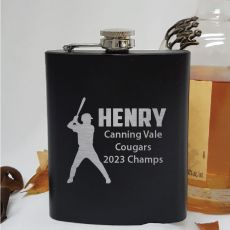 Personalised Baseball  Coach Engraved Black Flask
