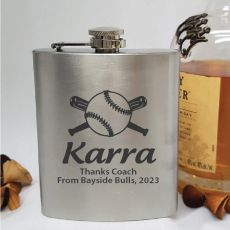 Personalised Baseball Coach Engraved Silver Flask