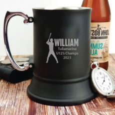 Baseball Coach Engraved Personalised Black Beer Stein Glass
