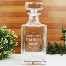 50th Birthday Engraved Personalised Whisky Decanter 700ml