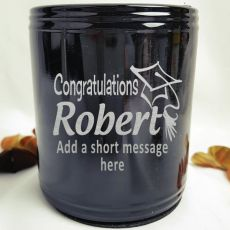 Graduation Engraved Black Can Cooler Personalised Message