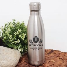 Football Coach Engraved Stainless Steel Drink Bottle - Silver