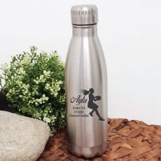 Netball  Coach Engraved Stainless Steel Drink Bottle - Silver
