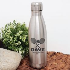 Tennis Coach Engraved Stainless Steel Drink Bottle - Silver