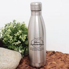 Teacher Engraved Stainless Steel Drink Bottle - Silver