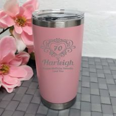 70th Birthday Insulated Travel Mug 600ml Dusky Pink