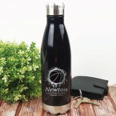 Basketball Coach Engraved Stainless Steel Drink Bottle - Black