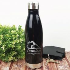 Swim  Coach Engraved Stainless Steel Drink Bottle - Black