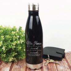 Teacher Engraved Black Stainless Steel Drink Bottle - Little Minds