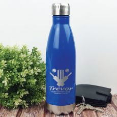 Cricket Coach Engraved Stainless Steel Drink Bottle - Blue