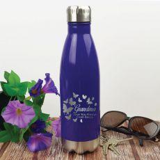 Grandma  Personalised Stainless Steel Drink Bottle - Purple