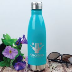 Cricket Coach Engraved Stainless Steel Drink Bottle - Teal