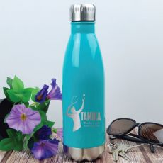 Tennis Coach Engraved Stainless Steel Drink Bottle - Teal