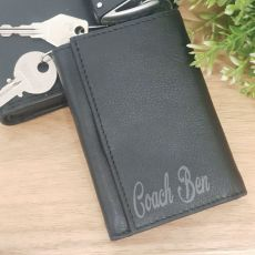 Coach Engraved Leather Key & RFID Card Holder
